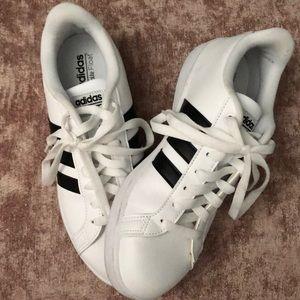 Adidas Ortholite White with Black Tennis Shoes